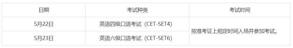 2. 口试考试时间(5月22-23日)